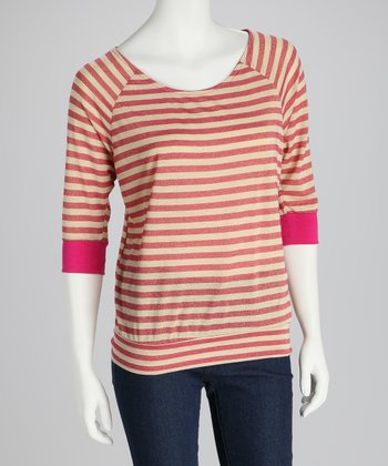 Fuchsia & Beige Stripe Cutout Top