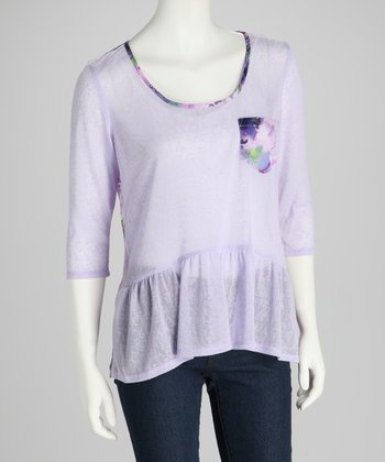 Lavender Lace Back Peplum Long-Sleeve Top