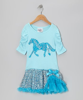 Miami Blue Sequin Horse Dress - Girls