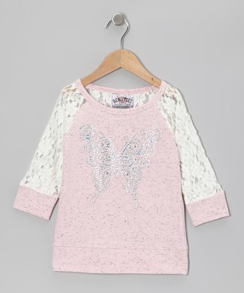 Pink Butterfly Lace Raglan Top