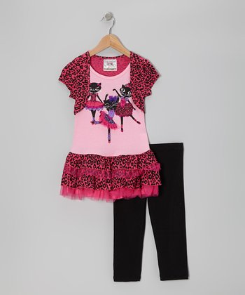 Paris Pink Cat Ballerina Tunic & Leggings