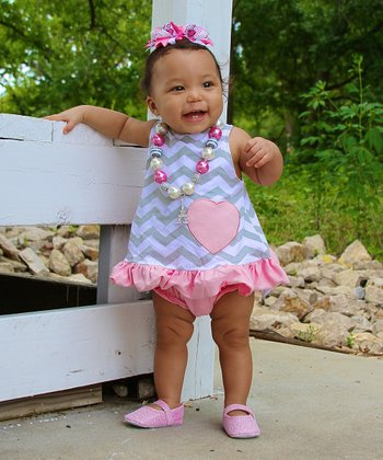 Gray & Pink Heart Swing Tunic & Diaper Cover - Infant