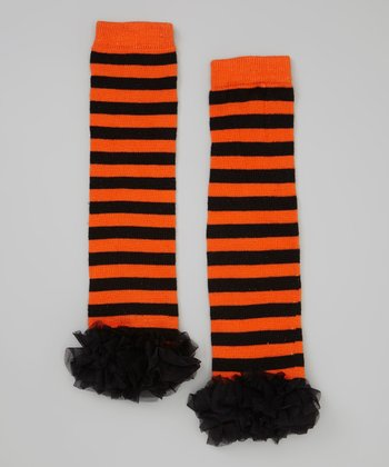 Orange & Black Stripe Ruffle Leg Warmers