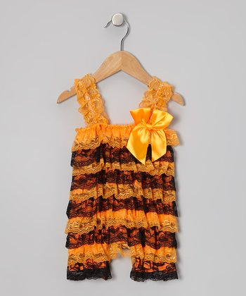 Orange & Black Stripe Lace Ruffle Romper - Infant & Toddler