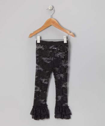 Black Lace Ruffle Leggings - Infant