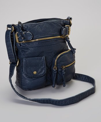 Dark Blue Triple Pocket Crossbody Bag