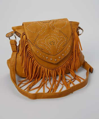Mustard Floral Studded Fringe Shoulder Bag