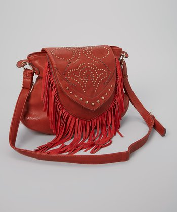 Rust Floral Studded Fringe Shoulder Bag