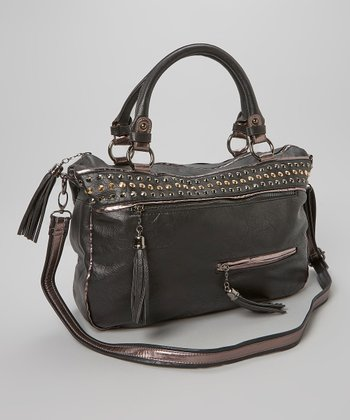 Black Dome Stud Satchel