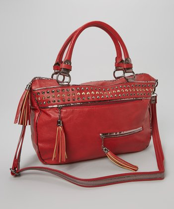 Red Dome Stud Satchel