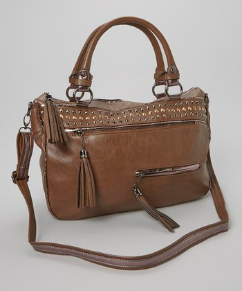 Brown Dome Stud Satchel