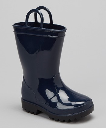 Navy Pull-On Rain Boot - Kids