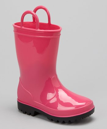 Pink Pull-On Rain Boot - Kids