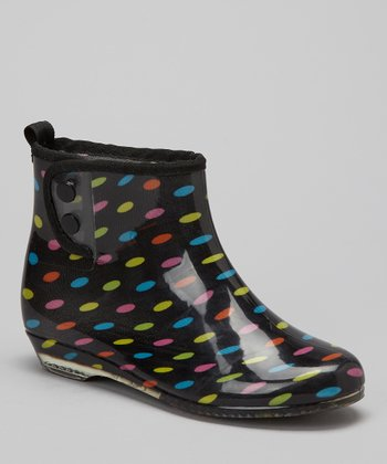 Black & Green Spotted Ankle Rain Boot - Women