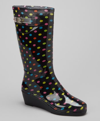 Black & Green Polka Dot Wedge Rain Boot
