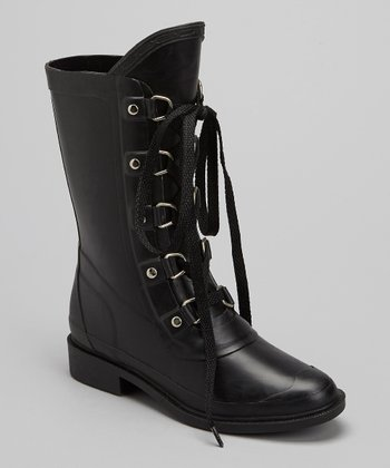 Black Lace-Up Rain Boot