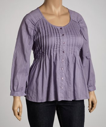 Lavender Pleated Top - Plus