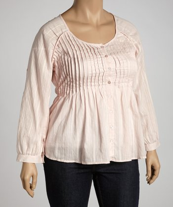 Light Pink Pleated Top - Plus