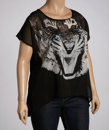 Black Tiger Graphic Top - Plus