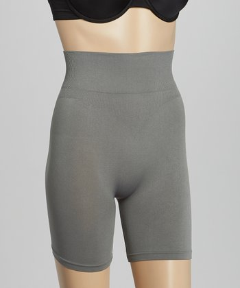 Gray Seamless High-Waist Shaper Shorts - Women