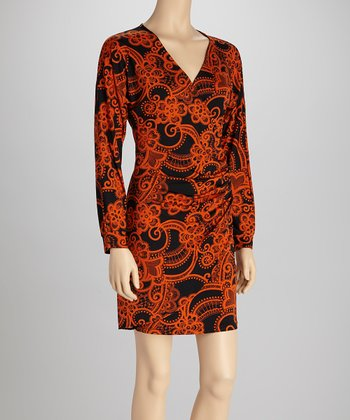 Black & Orange Faux Wrap Dress