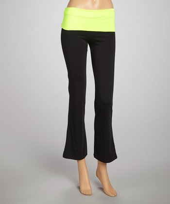 Neon Lime & Black Foldover Yoga Pants