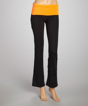 Neon Orange & Black Foldover Yoga Pants