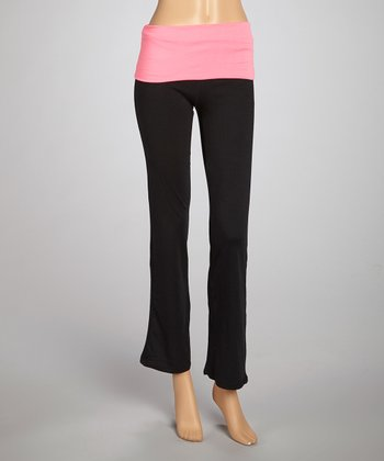 Neon Pink & Black Foldover Yoga Pants