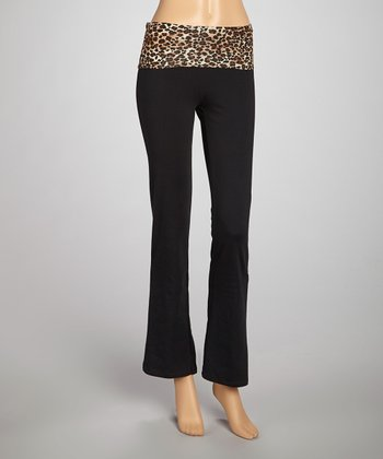 Brown Leopard Bank Yoga Pants