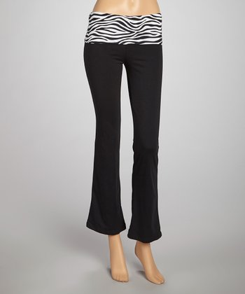 Black & White Zebra Bank Yoga Pants