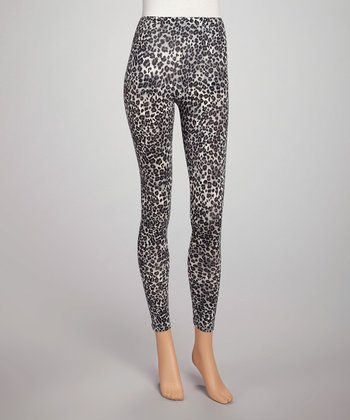 Gray Leopard Capri Leggings