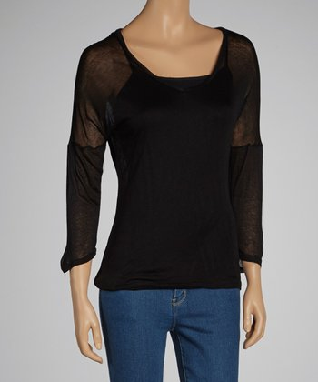 Black Sheer Jersey V-Neck Top