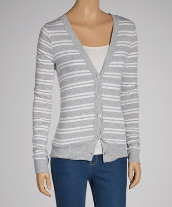 Gray & White Stripe Cardigan