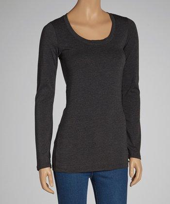 Charcoal Scoop Neck Top