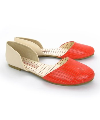 Coral & Cream Shirley Flat