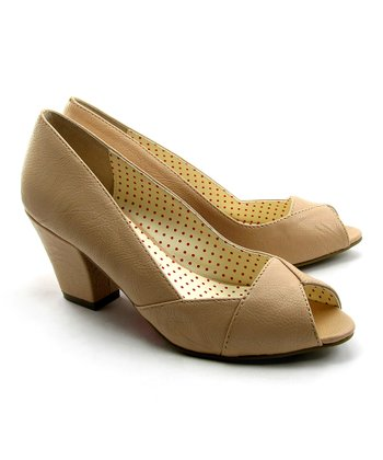 Latte Honey Peep-Toe Pump
