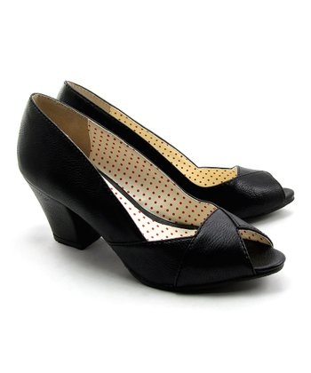 Black Honey Peep-Toe Pump