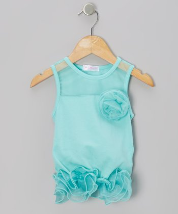 Turquoise Curly Tutu Peplum Tank - Girls
