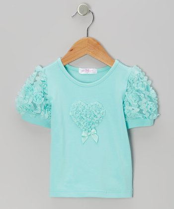 Turquoise Rosette Puff-Sleeve Top - Infant, Toddler & Girls