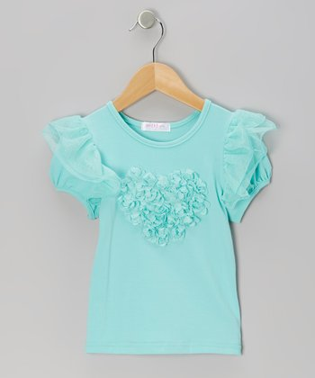Turquoise Rosette Angel-Sleeve Top - Infant, Toddler & Girls