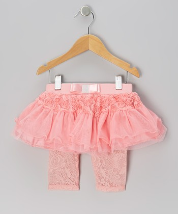 Coral Rosette Lace Skirted Leggings - Infant & Girls