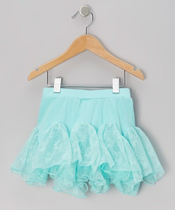 Turquoise Floral Lace Kick Pleat Skirt - Infant, Toddler & Girls
