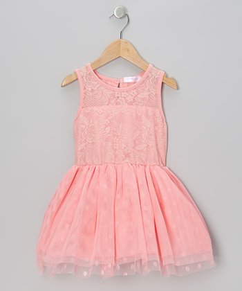 Coral Lace Polka Dot Tulle Dress - Infant, Toddler & Girls