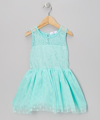 Turquoise Lace Polka Dot Tulle Dress - Infant, Toddler & Girls