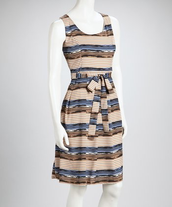 Beige & Blue Gray Multi Stripe Sleeveless Dress - Women