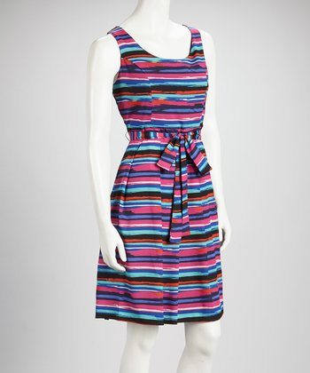 Fuchsia & Red Multi Stripe Sleeveless Dress - Women