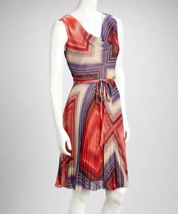Purple & Red Geometric Blur Cowl Neck Sleeveless Dress