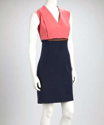 Coral & Navy Color Block Belted Sleeveless Surplice Dress - Women