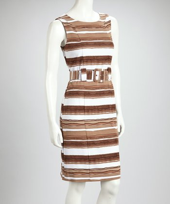 Brown & White Stripe Belted Sleeveless Dress