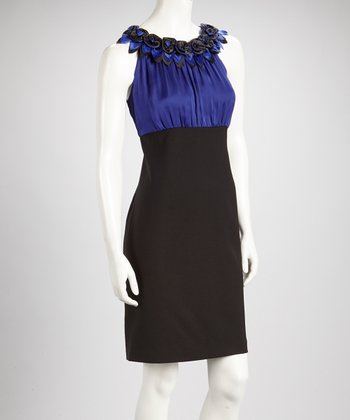 Purple & Black Color Block Rosette Sleeveless Dress